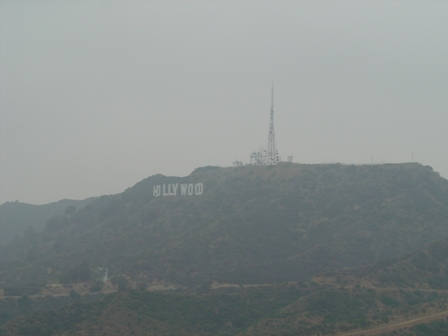 hollywood sign and radio tower, from mt. hollywood trail