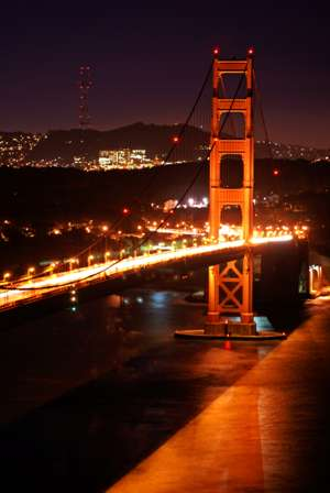 pictures of the golden gate bridge at night. The Golden Gate Bridge