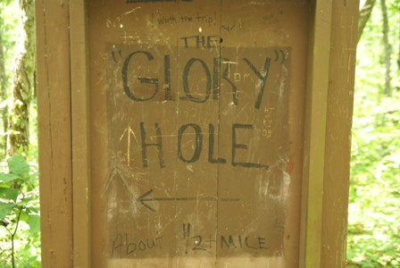 This is the only sign I saw for Glory Hole Falls, at a point where the ...
